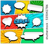 Comic book page template in pop-art style. Colorful background with speech bubbles, balloons, sound, radial, dotted and halftone effects | Shutterstock vector #535042786