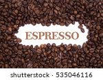 background made of coffee beans ... | Shutterstock . vector #535046116