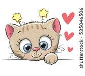 cute cartoon kitten with big... | Shutterstock .eps vector #535046506