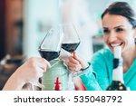 friends drinking wine in...   Shutterstock . vector #535048792