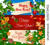 new year banners set. holly... | Shutterstock . vector #535073902