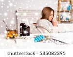 sick woman with medicament... | Shutterstock . vector #535082395