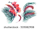 tropical flowers  palm leaves ... | Shutterstock .eps vector #535082908