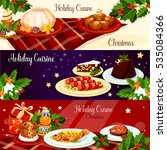 christmas holiday cuisine... | Shutterstock . vector #535084366