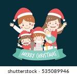 happy family wear christmas... | Shutterstock .eps vector #535089946