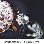 christmas meal   pie with poppy ...   Shutterstock . vector #535098796