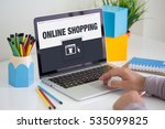 online shopping icon concept on ... | Shutterstock . vector #535099825