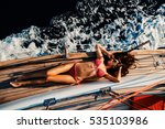 Luxury Woman Yachting In Sea....