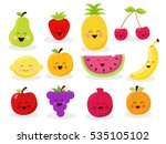 collection of cute fruit... | Shutterstock .eps vector #535105102