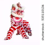 Small photo of Lion dance isolated