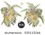 bouquets with tropical flowers  ... | Shutterstock .eps vector #535115266