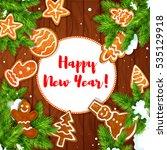 happy new year greeting card... | Shutterstock . vector #535129918