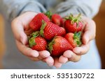 Holding Fresh Strawberry In...