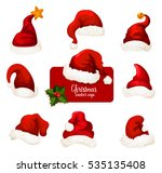 christmas santa hat icons set.... | Shutterstock . vector #535135408