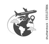 airplane flying over globe icon ... | Shutterstock . vector #535137886