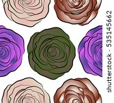 stylized roses seamless pattern.... | Shutterstock . vector #535145662