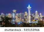 seattle city scape on christmas ... | Shutterstock . vector #535153966
