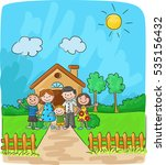 happy family against a... | Shutterstock .eps vector #535156432