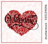 Valentine Heart  Doodle Patter...