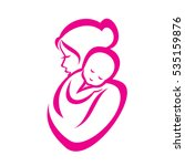 mother and baby stylized vector ... | Shutterstock .eps vector #535159876