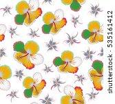 vintage tropical hibiscus... | Shutterstock . vector #535161412