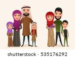 happy arab family with children ... | Shutterstock .eps vector #535176292
