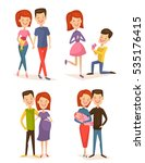 happy young family couple set...   Shutterstock .eps vector #535176415