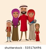 happy arab family with children ... | Shutterstock .eps vector #535176496