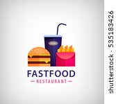 Vector fastfood restaurant, cafe colorful logo. Burger, fried potatoes, drink icon