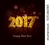 2017 happy new year with gold... | Shutterstock .eps vector #535186585
