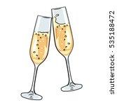 pair of champagne glasses  set... | Shutterstock .eps vector #535188472
