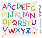 the alphabet drawn by a crayon | Shutterstock .eps vector #53519065