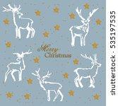 christmas deer. a set of... | Shutterstock . vector #535197535