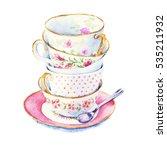 time to drink tea. bunch of tea ...   Shutterstock . vector #535211932