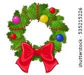cartoon christmas wreath on a...   Shutterstock . vector #535215226