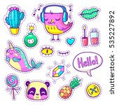 neon 90s hand drawn patch... | Shutterstock .eps vector #535227892