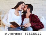 close up of merry couple. man... | Shutterstock . vector #535230112