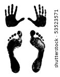 two footprints and two hand... | Shutterstock .eps vector #53523571