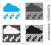 Cloud With Lightning Set Icons...