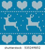 blue knitted deers sweater in... | Shutterstock . vector #535249852