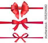 four red gift bow | Shutterstock .eps vector #535254082
