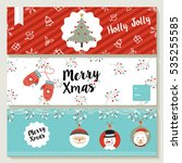 merry christmas set of social... | Shutterstock .eps vector #535255585