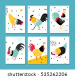 beautiful banner with a rooster ... | Shutterstock .eps vector #535262206