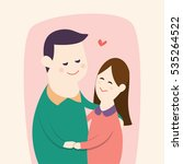 happy young couple's hugging... | Shutterstock .eps vector #535264522