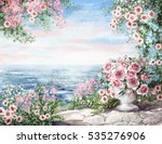 cute oil painting  summer  blue ... | Shutterstock . vector #535276906