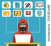 hacker using his computer for... | Shutterstock .eps vector #535281688