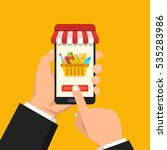 order food online. hand holding ... | Shutterstock .eps vector #535283986