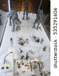 Small photo of Wroclaw, POLAND - January 25, 2014: Star Wars battle of Hoth, made by Lego blocks.