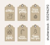set of 6 christmas and new year ... | Shutterstock .eps vector #535296292