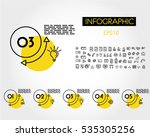 yellow linear infographic set... | Shutterstock .eps vector #535305256